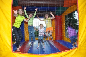 Children in bouncey house